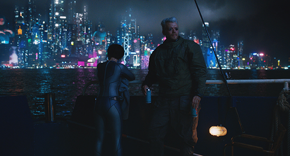 Scarlett Johansson plays the Major and Pilou Asbaek plays Batou in Ghost in the Shell from Paramount Pictures and DreamWorks Pictures.